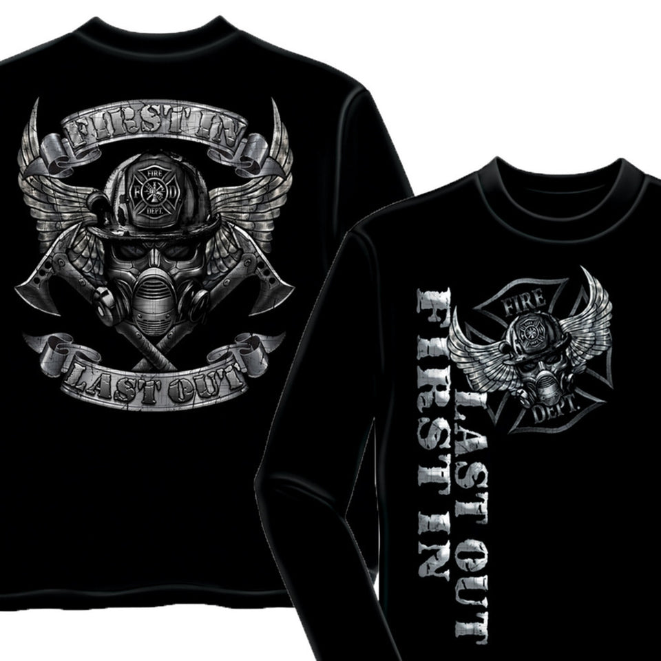 First In Last Out Firefighter T-Shirt-Military Republic