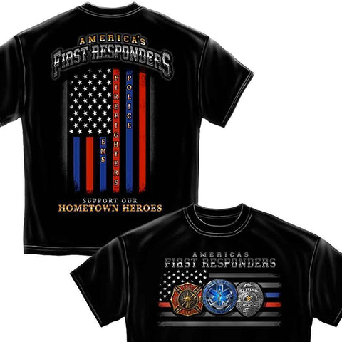 First Responders Flag EMS T-Shirt-Military Republic