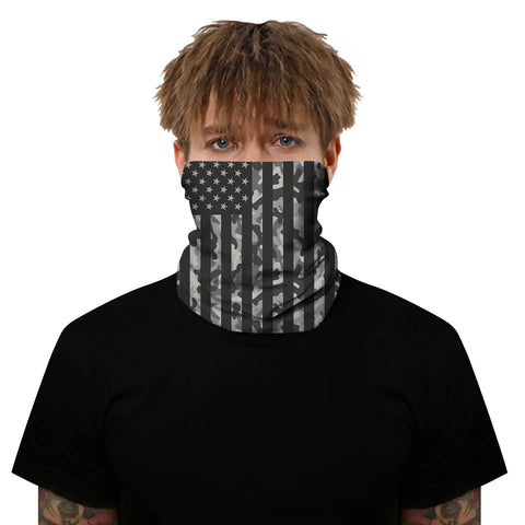 Grey Camo USA Flag Outdoors Motorcycle Face Mask Bandana Headwear