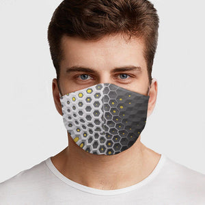 Gray Hex Honey Comb Design Face Cover
