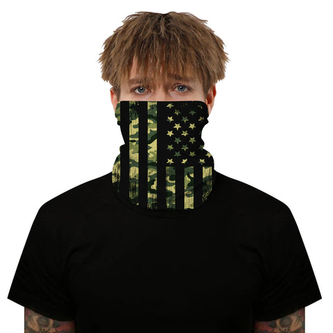 Green Camo USA Flag Outdoors Motorcycle Face Mask Bandana Headwear