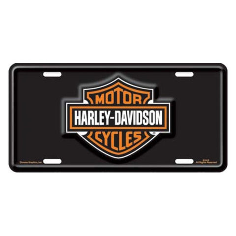 Harley-Davidson Bar and Shield Embossed Logo Black License Plate