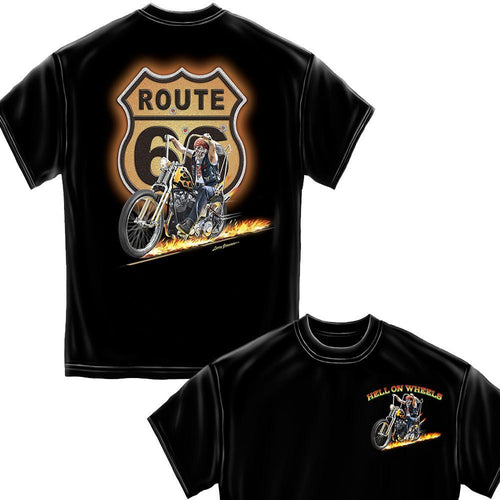 Hell On Wheels Black Hot Rods T-Shirt-Military Republic