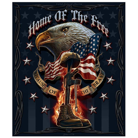 Home Of The Free - Because Of The Brave Blanket-Military Republic