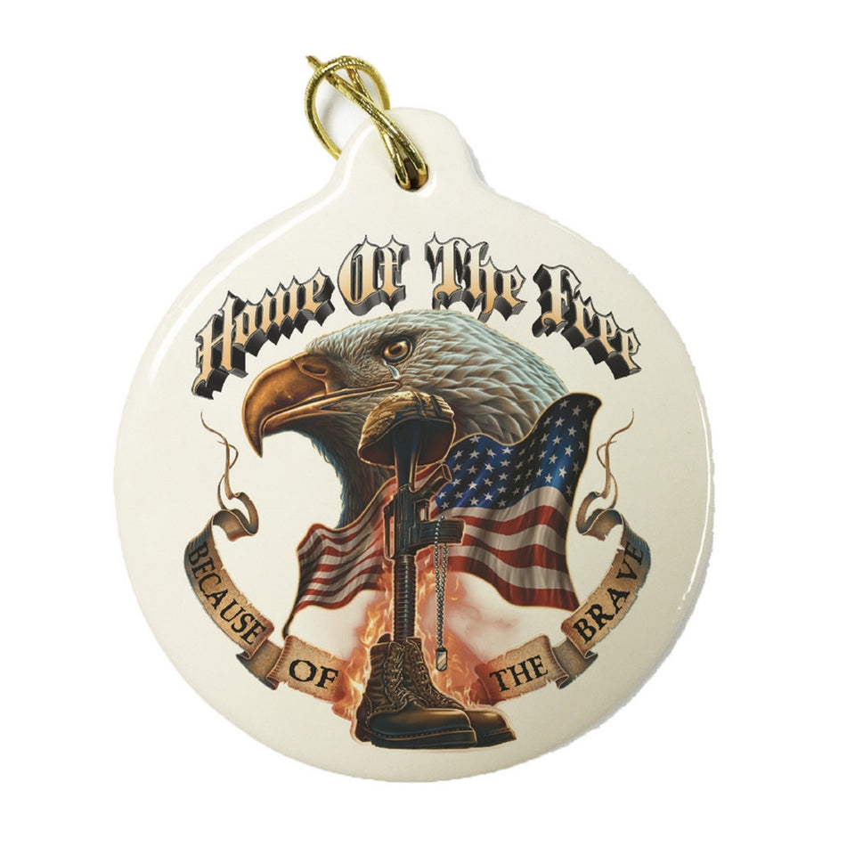 Home Of The Free Because Of The Brave Christmas Ornament-Military Republic