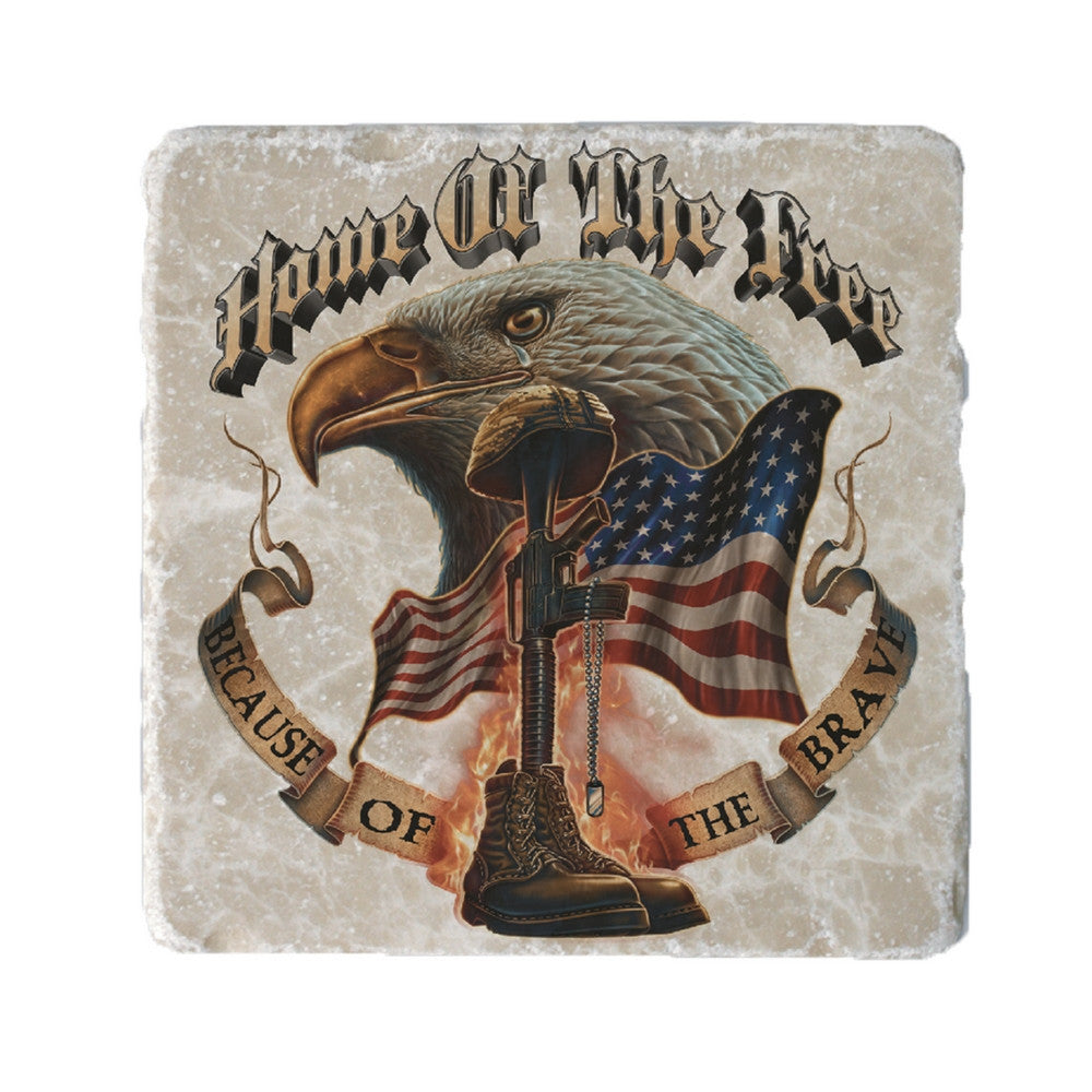 Home Of The Free Because Of The Brave Coaster-Military Republic