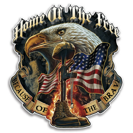 Home Of The Free Because Of The Brave Decal-Military Republic