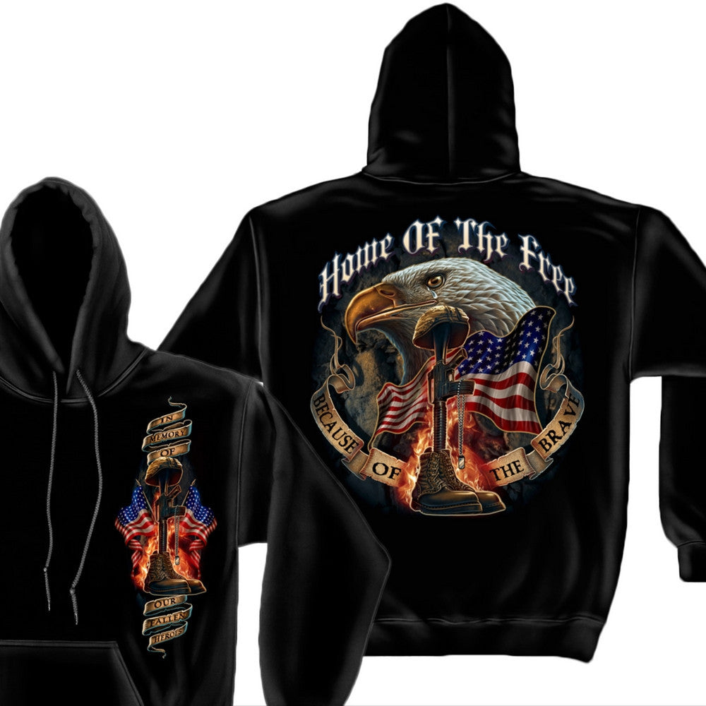 Home Of The Free - Because Of The Brave Hoodie-Military Republic