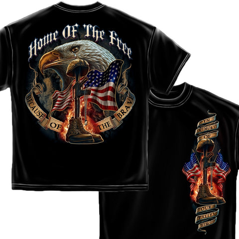 Home Of The Free - Because Of The Brave T-Shirt-Military Republic