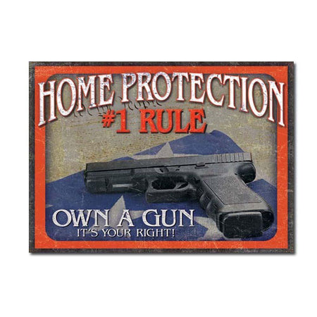 Home Protection - #1 Rule Tin Sign-Military Republic