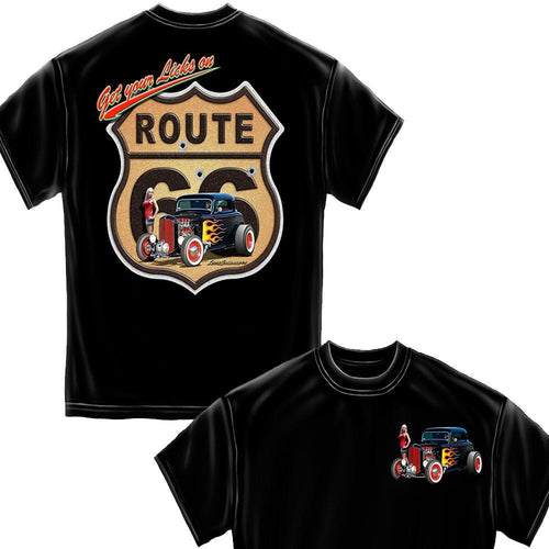 Hot Rods Get Your Lick On RT 66 Black T-Shirt-Military Republic