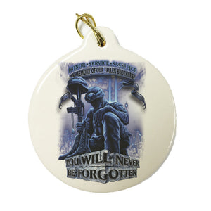 In Memory Of Our Fallen Brothers Christmas Ornament-Military Republic