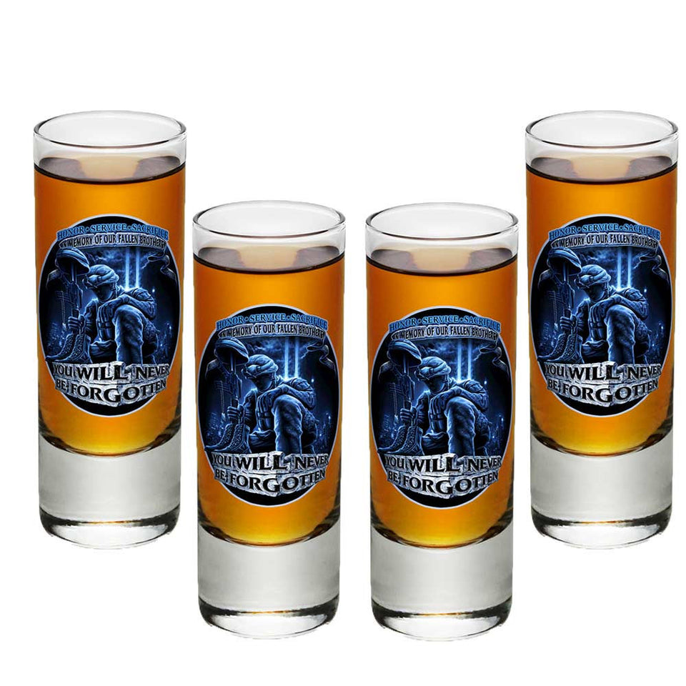 In Memory Of Our Fallen Brothers Shot Glasses-Military Republic
