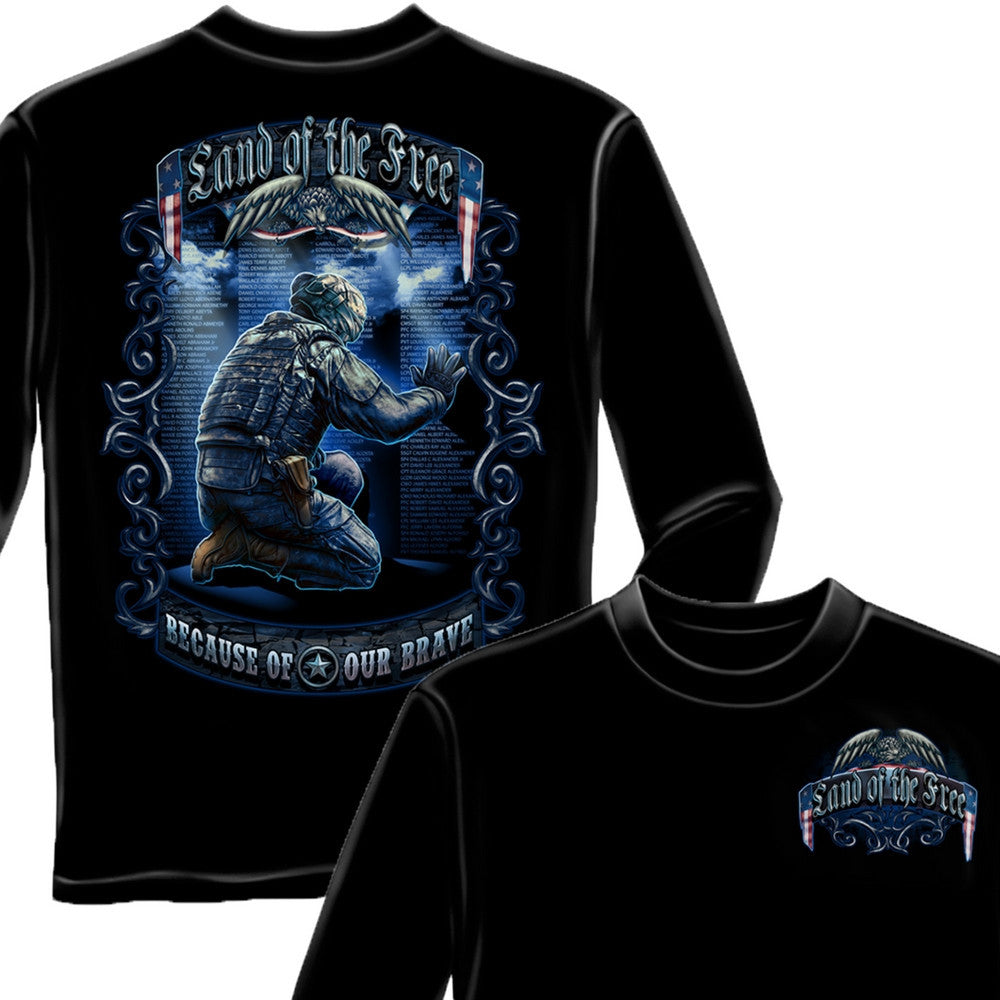 Land Of The Free Wall Long Sleeve Shirt-Military Republic