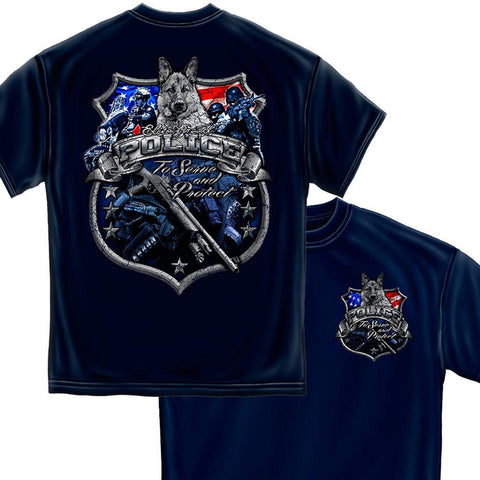 Law Enforcement- To Serve & Protect - Foil T-Shirt-Military Republic