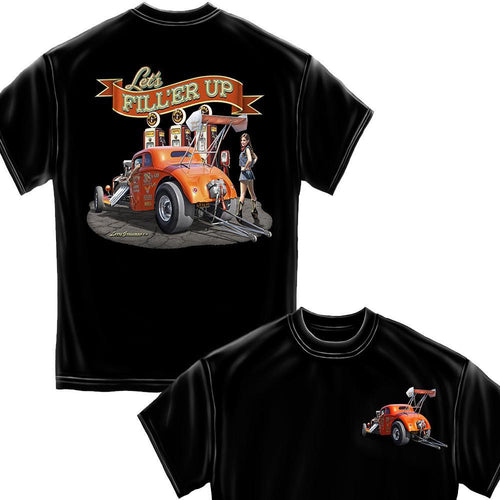 Let's Filler Up Black Hot Rods T-Shirt-Military Republic