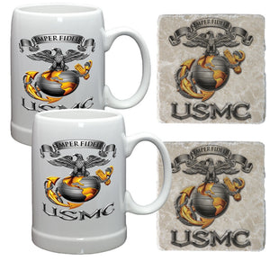 Limited Edition Holiday USMC Mug and Coaster Set-Military Republic