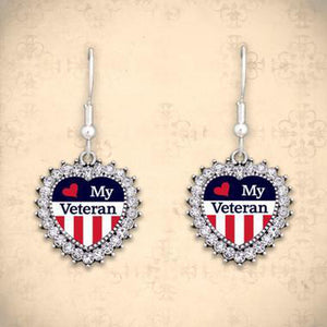 Love My Veterans Earrings-Military Republic