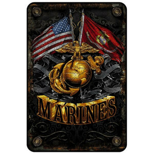 Marine Double Flag Aluminum Sign-Military Republic