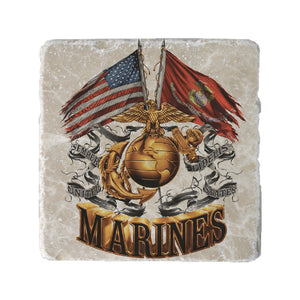 Marine Double Flag Coaster-Military Republic