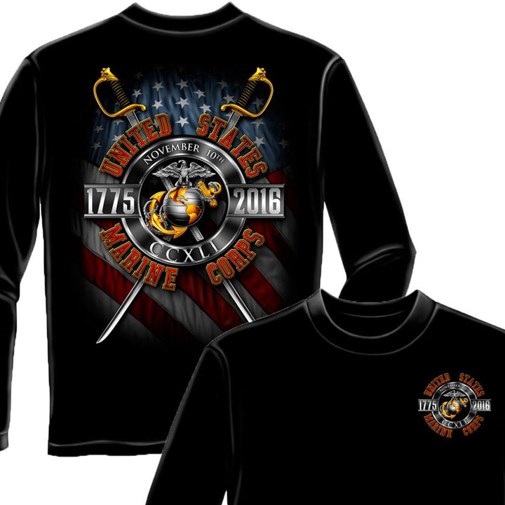 Marines Birthday 241 Years 2016 COLLECTORS Long Sleeve Shirt-Military Republic
