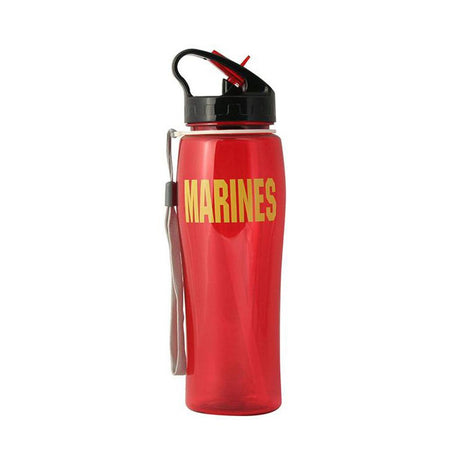 MARINES Block Font in Yellow Imprinted on Red Water Bottle