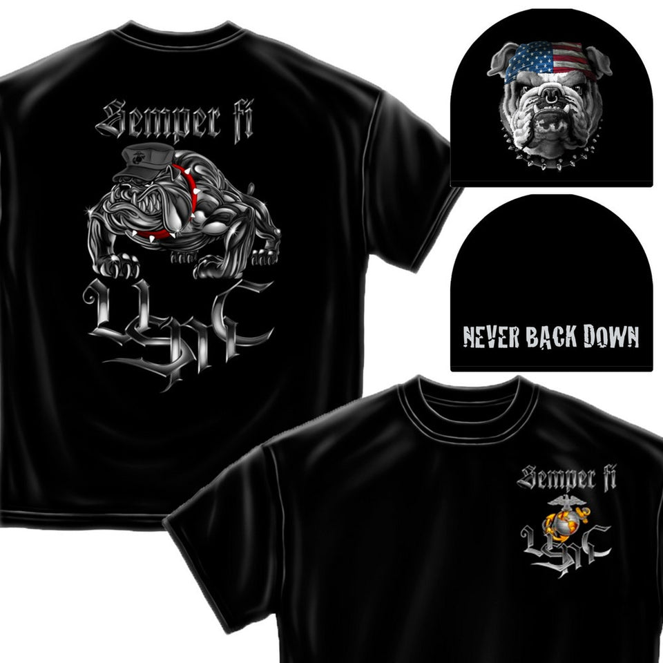 Marines Dog Beanie and T-Shirt Set-Military Republic