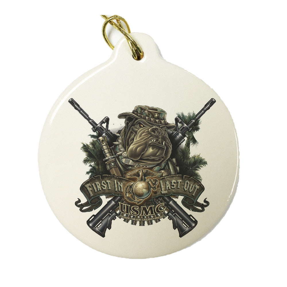 Marines Dog First In Last Out Christmas Ornament-Military Republic