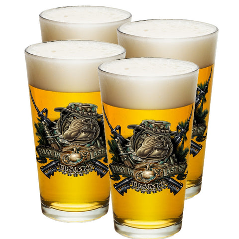 Marines Dog First In Last Out Pint Glasses-Military Republic