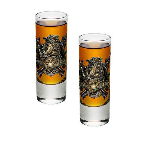 Marines Dog First In Last Out Shot Glasses-Military Republic