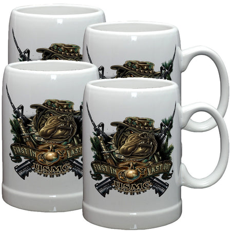 Marines Dog First In Last Out Stoneware Mug Set-Military Republic