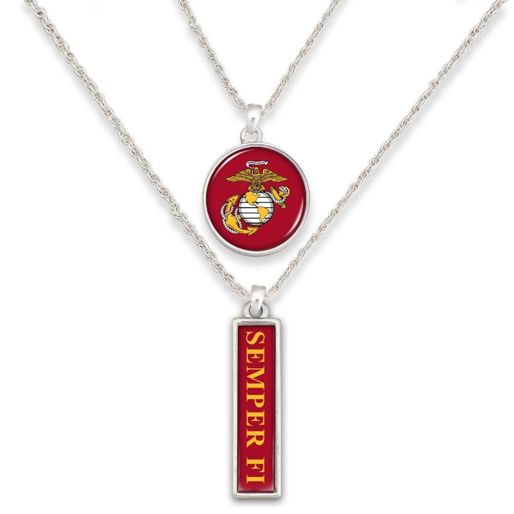 Marines Double Down Necklace-Military Republic
