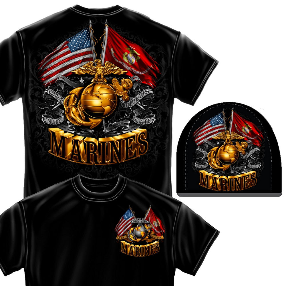 Marines Double Flag Beanie and T-Shirt Set-Military Republic