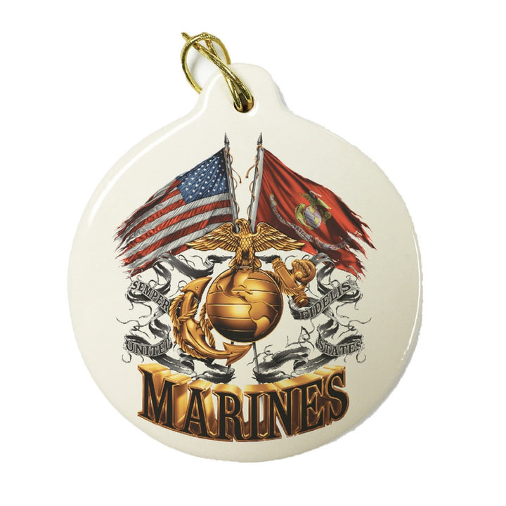 Marines Double Flag Christmas Ornament-Military Republic