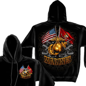 Marines Double Flag Hoodie-Military Republic