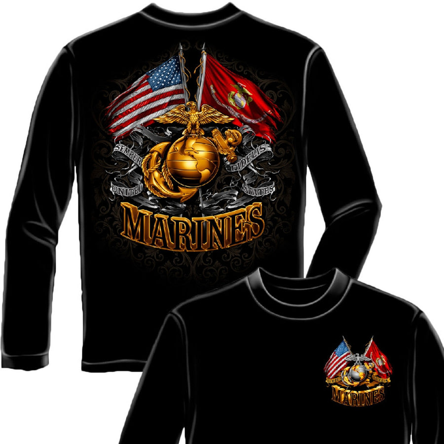 Marines Double Flag Long Sleeve Shirt-Military Republic