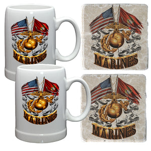 Marines Double Flag Mug And Coaster Holiday Gift Set-Military Republic