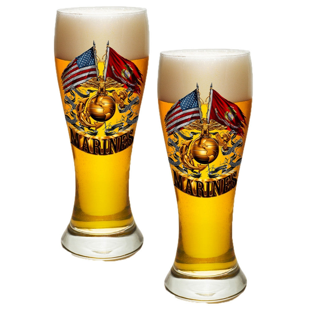 Marines Double Flag Pilsner Glasses Set-Military Republic