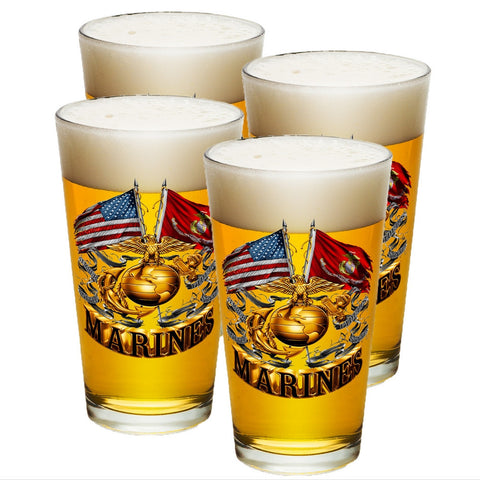 Marines Double Flag Pint Glasses-Military Republic