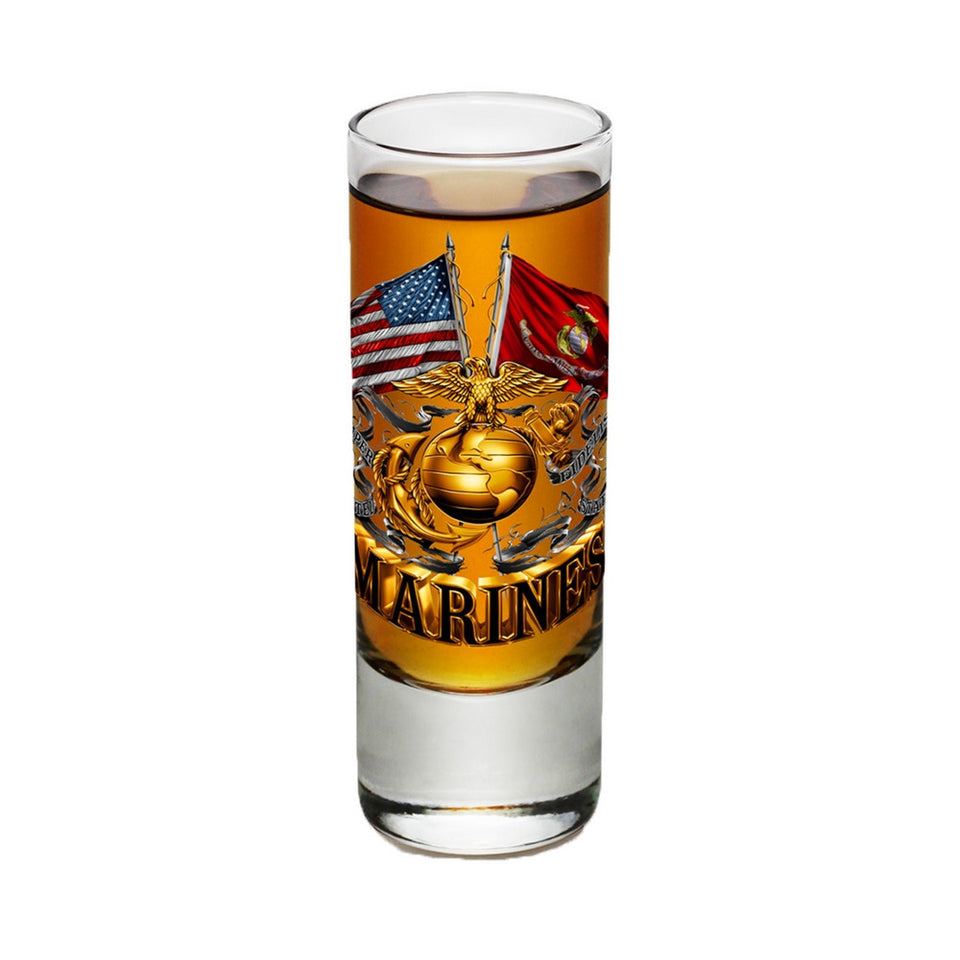 Marines Double Flag Shot Glasses-Military Republic