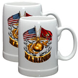 Marines Double Flag Stoneware Mug Set-Military Republic