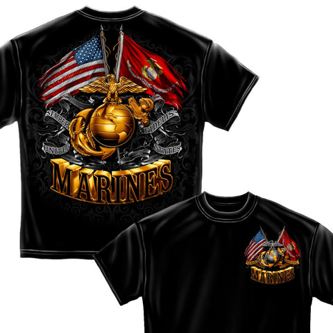 Marines Double Flag T-Shirt-Claris Deals