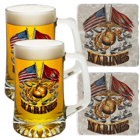 Marines Double Flag Tankard And Coaster Set-Military Republic