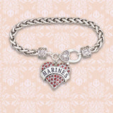 Marines Heart Braided Clasp Bracelet-Military Republic