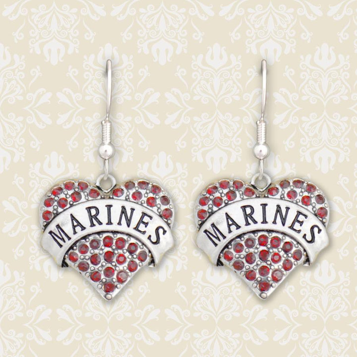 Marines Heart Earrings-Military Republic
