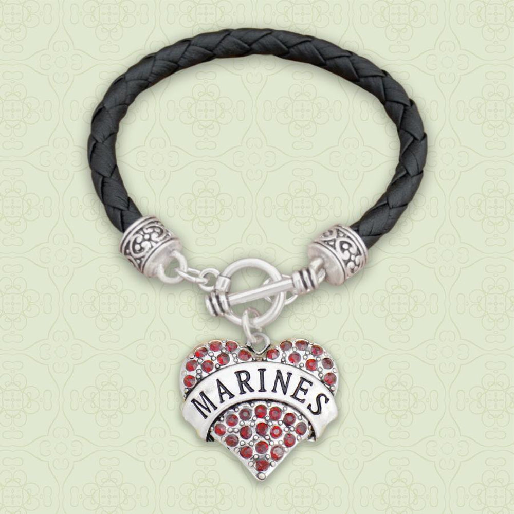 Marines Heart Leather Bracelet-Military Republic