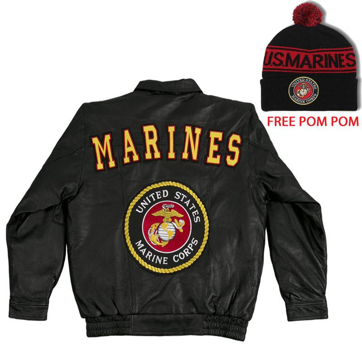 Marines Leather Jacket + FREE Pom Pom Jacket