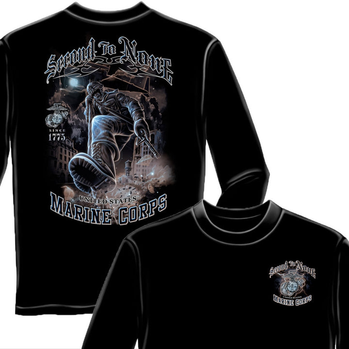 Marines Second To None Long Sleeve Shirt-Military Republic