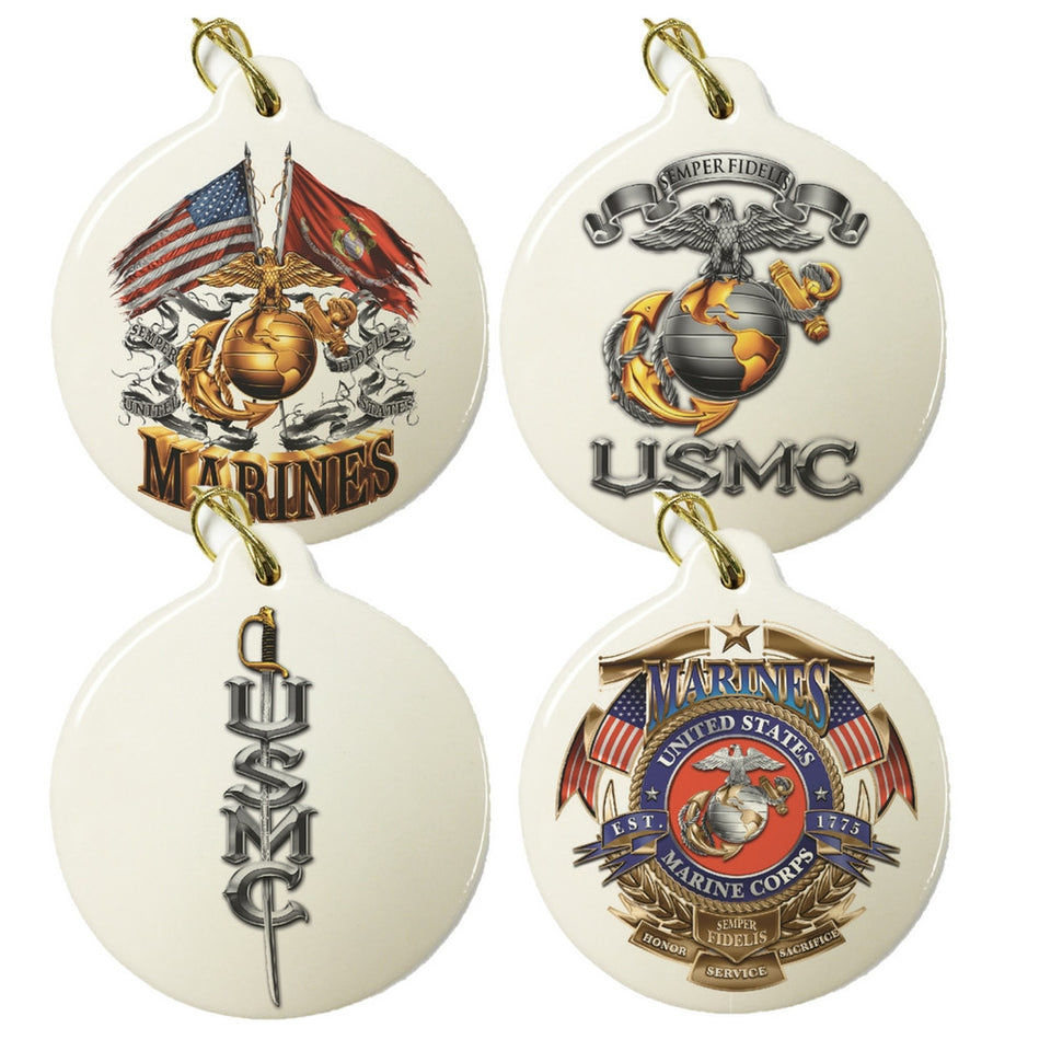 Marines Set Of 4 Christmas Ornament Set-Military Republic