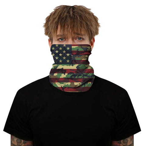 Multi-color Camo USA Flag Design Outdoors Motorcycle Face Mask Bandana Headwear